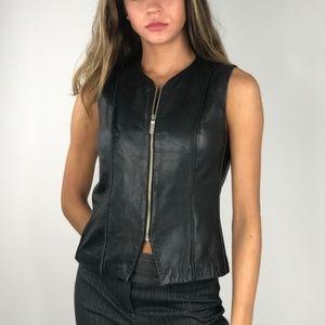 NWOT Banana Republic Genuine Leather Zip Vest 2
